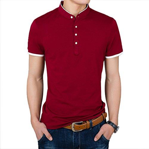 Summer Mae Polo Casual de Manga Corta Camisas Moda para Hombre Rojo