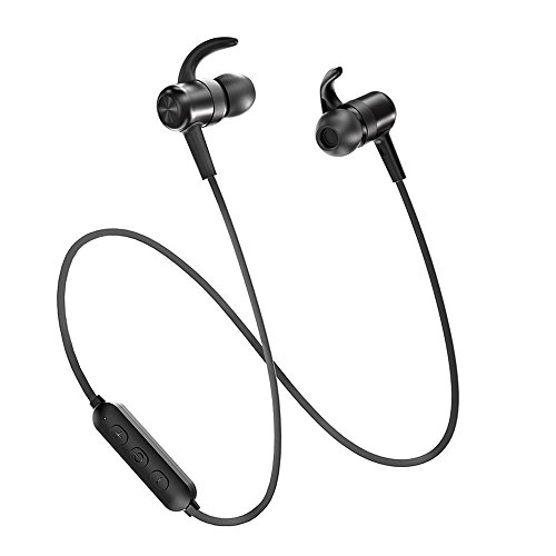 Bluetooth Headphones TaoTronics Sweatproof Sport Earphones 9 Hours 4.2 Magnetic Lightweight & Fast Pairing (cVc 6.0 Noise Cancelling Mic, Snug Silicon Earbuds, Magnetic Design)