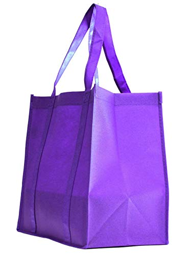 Grocery Tote Bag, Large & Super Strong, Heavy Duty Shopping Bags with Stand-up PL Bottom, Non-Woven Convention Reusable Tote Bags, Premium Quality (Set of 5, Purple)