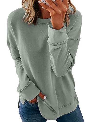 FARYSAYS Women's Casual Round Neck Long Sleeve Loose Pullover Sweatshirt Tops