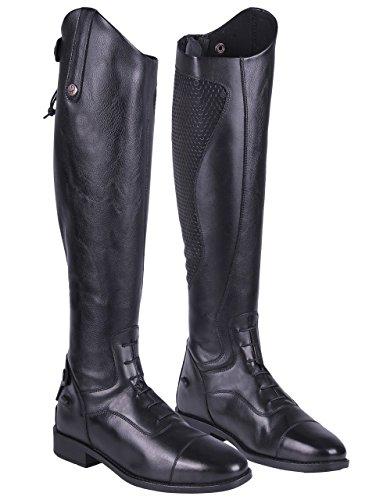 QHP Damen Lederreitstiefel Nina mit anti-slip Beschichtung an der Innenseite weite Wadenweite Schwarz