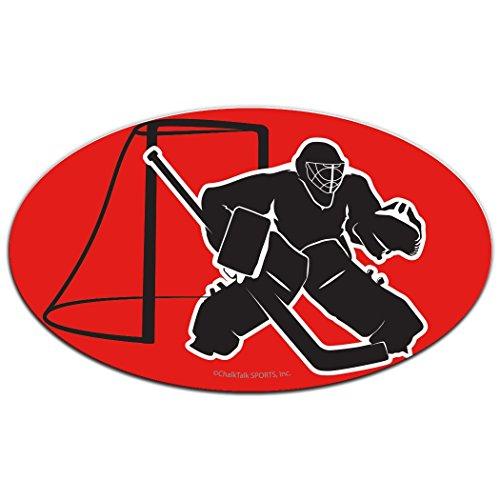 (ChalkTalkSPORTS Hockey Car Magnet | Hockey Goalie Silhouette | Red)