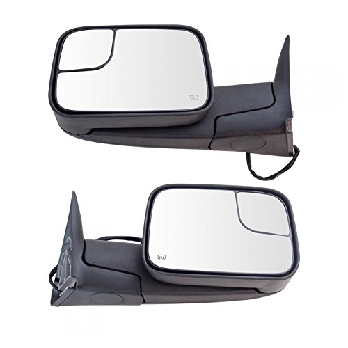 Towing Mirror Power Heated Textured Black Pair Set for Dodge Ram Pickup ()