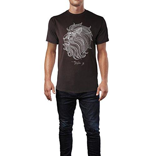 SINUS ART ® Löwenkopf mit Ornamenten Herren T-Shirts in Schokolade braun Fun Shirt mit tollen Aufdruck