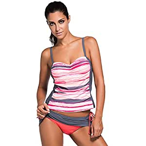 Bikini Sexy Suspenders Hit The Color Splice Skirt Split Traje De Baño,XXL