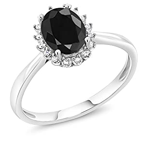 10K White Gold 1.66 Ct Oval Black Sapphire Engagement Ring with Diamonds