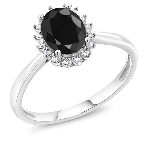 - 10K White Gold 1.66 Ct Oval Black Sapphire Engagement Ring with Diamonds (Size 9)