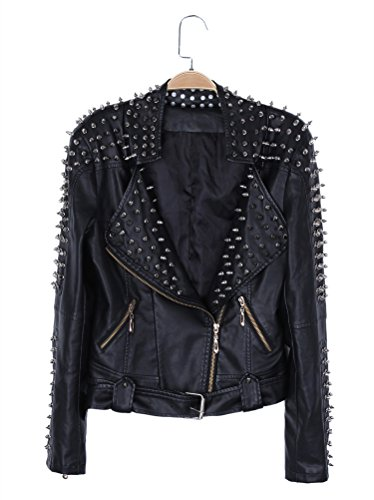 Power Jacket (Ilishop Women's Power Studded Shoulder Zip Biker Slim Short Faux Leather Jacket Black XL-US6)