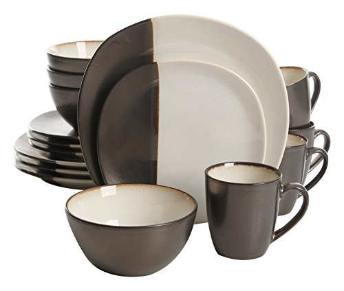 Gibson Elite 16 Piece Volterra Soft Square Dinnerware Set with Reactive Glaze Stoneware, Cream and Grey (Dinnerware Grey Square Sets)