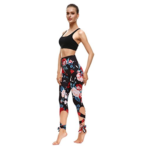 Rose-Wide-Waistband-Ballet-Leggings-Strappy-Dance-Puttee-Capris-Pants-Small