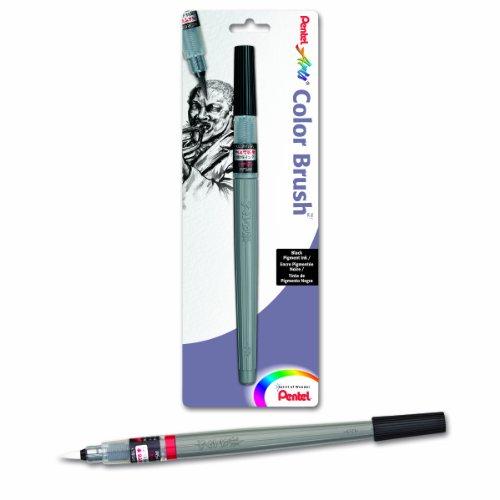 Pentel Arts Color Brush with Pigment Ink, Medium Tip, Black Ink, Pack of 1 (FP5MBPA) (Point Pentel Fine Color)