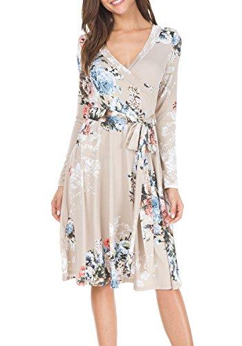 khaki wrap dress - 4