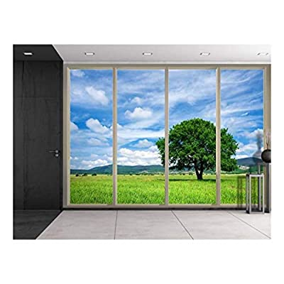 Clouds Over Mountains and a Lone Tree on a Green Field Viewed from Sliding Door Creative Wall Mural Peel and Stick Wallpaper, Made For You, Astonishing Piece
