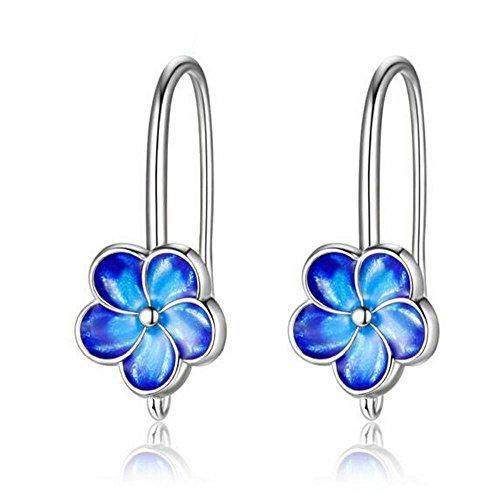 Enamel Blue Jewelry (Uloveido Cloisonne Earrings for Women Plum Flower Silver Color Blue Enamel Jewelry CQ248-Silver-Blue)