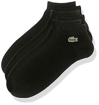 Lacoste Men's Sport Ankle Athletic Socks, Black/Black-Black, 06F, Pack of 3