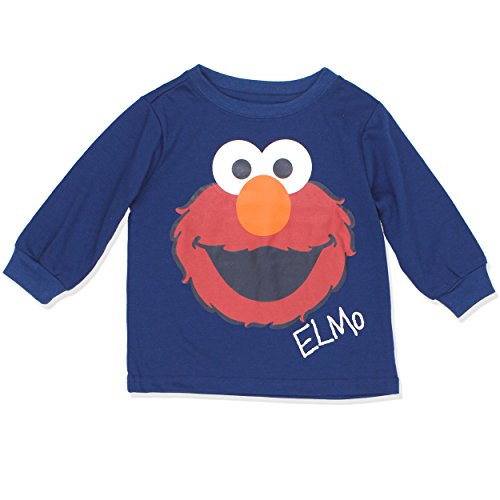 Sesame Street Toddler Boys Long Sleeve Tee (2T, Navy) (Elmo Clothes For Toddlers)
