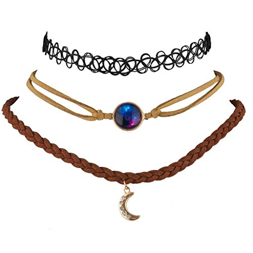Lux Accessories Celestial Nebula Moon Choker Set (3PC)