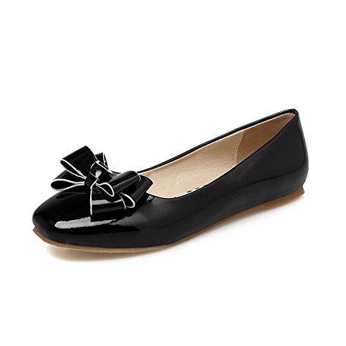 QXH de de de Color Boca Sólido Sandalias Black Superficial Gran Tamaño Cuadrada Cabeza Plana Mujer rwRrC5q