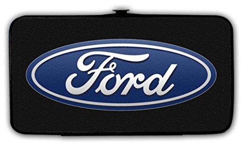 Automotive Ford Motors Bi-Fold Hinge Wallet - Ford Motors Logo Emblem Blue & White Ornament Design