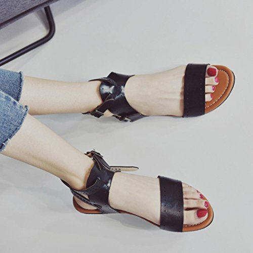 HLHN Women Sandals,Roman Ankle Buckle Strap HollowFlat Heel Open-Toe Shoes Casual Vintage Beach Black