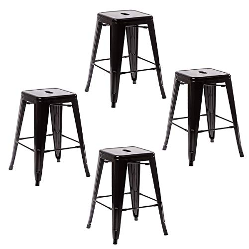 COSTWAY Metal Bar StoolsTolix Style Industrial Backless Counter Height Stools w Square Seat Set of 4 Black