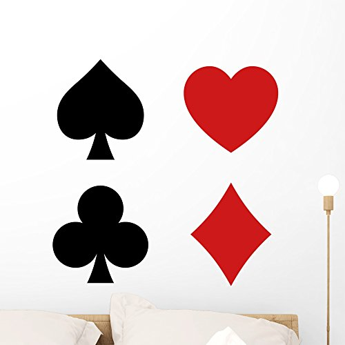 Wallmonkeys Playing Card Spade Heart Wall Decal Sticker Set Individual Peel and Stick Graphics on a (24 in H x 24 in W) Sticker Sheet WM363141