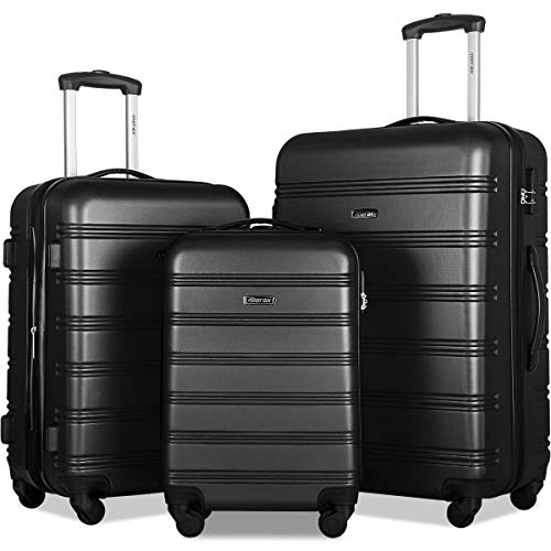Merax 3 Pcs Luggage Set Expandable Hardside Lightweight Spinner Suitcase