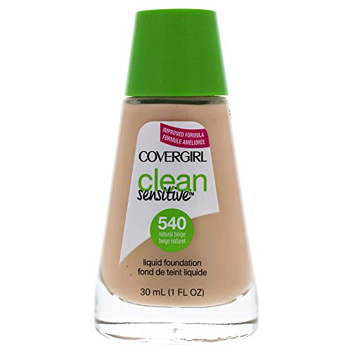COVERGIRL, Clean Sensitive Skin Foundation, Natural Beige, 1 Count (packaging may vary) (Best Foundation For Sensitive Skin)