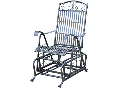 IRON PORCH GLIDER in BLACK with a SILVER SHEEN FINISH - PATIO FURNITURE (Wrought Iron Porch Furniture)