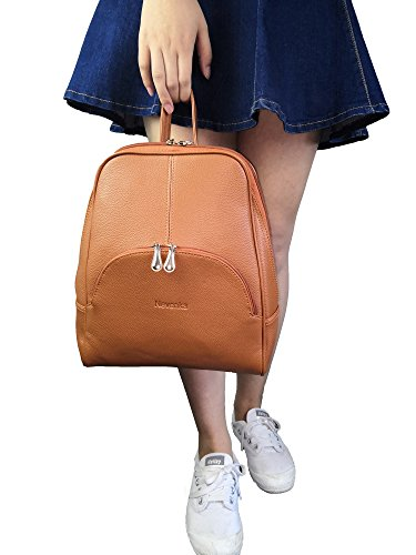 Nevenka Brand Women Bags Backpack Purse PU Leather Zipper Bags Casual Backpacks Shoulder Bags (Autumn Maple) by Nevenka (Image #6)'