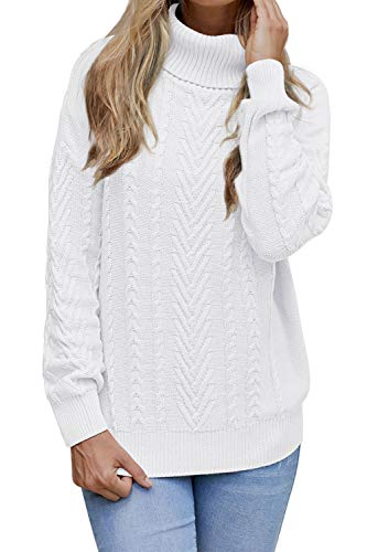 Pink Queen Women's Loose 100% Cotton Turtleneck Irish Ribbed Knit Pullover Sweater White L