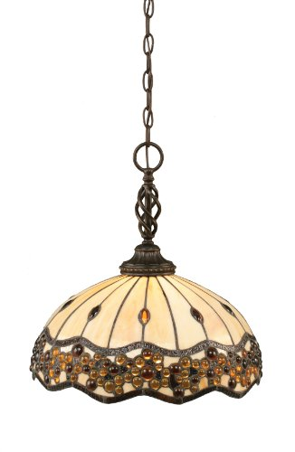 - Toltec Lighting 82-DG-997 Elegante One-Light Pendant Dark Granite Finish with Italian Roman Jewel Tiffany Glass, 16-Inch