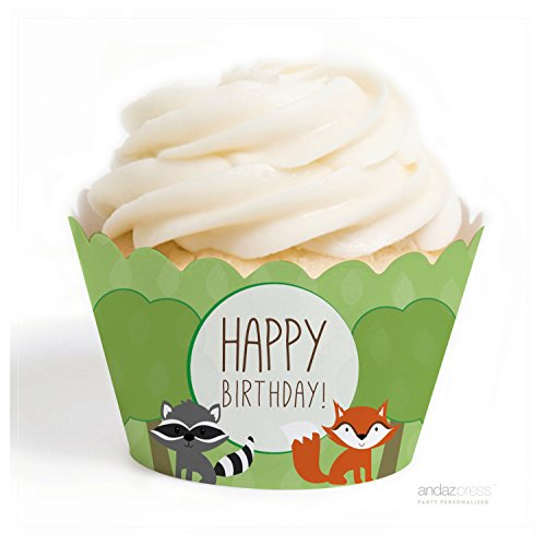 Andaz Press Woodland Friends Birthday Collection, Happy Birthday Fox and Raccoon Cupcake Wrappers, 20-Pack (Collection Wrapper)
