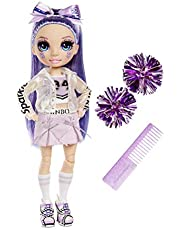 Rainbow High Cheer Modepop - Glamoureuze Outfits, Pom Poms & Cheerleader Pop - Violet Willow, Paarse Modepop - Rainbow High Cheer-Serie - Perfect Cadeau voor Meisjes Vanaf 6 Jaar