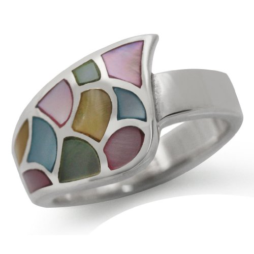 Multi Colored Mother of Pearl (MOP) 925 Sterling Silver Modern Ring Size 6.5
