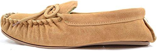 Mocasín cuero de de hombre genuino zapatillas de gamuza goma genuina suela con claro para marrón TrZWTgB