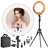 Ring Light Kit 18'' 48cm Outer 55W 5500K Dimmable Led Light Ring with Tripod Stand & Carrying Bag for Camera, Smartphone,Make-Up,YouTube,Portrait Shooting,Live Stream etc