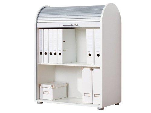 UNITED OFFICE® Rollladenschrank m. verschließbarer Jalousie in Aluminiumoptik