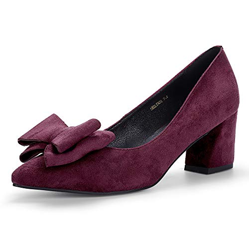 (IDIFU Women's IN2 Linda Low Chunky Heels Pumps Pointed Toe Slip on Bow Dress Party Shoes (Wine Red Suede, 9.5 M US))