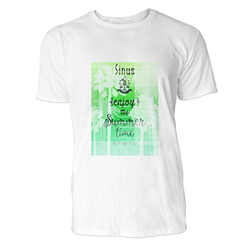 SINUS ART® Enjoy The Summer Time Herren T-Shirts in Weiss Fun Shirt mit tollen Aufdruck