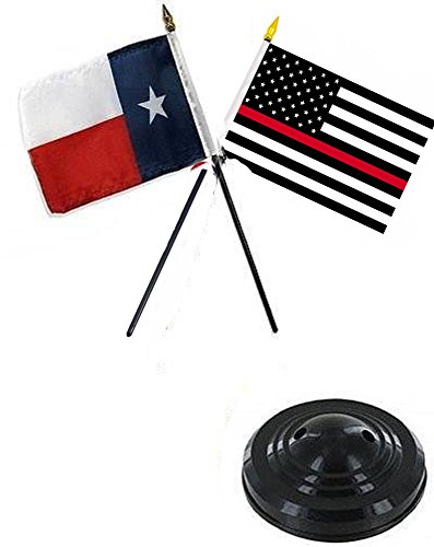 ALBATROS Texas State with USA Fire Red 4 inch x 6 inch Flag Desk Set Table Stick with Black Base for Home and Parades, Official Party, All Weather Indoors Outdoors
