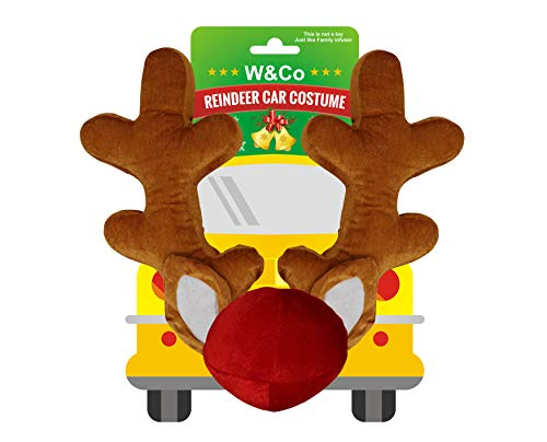 Win&Co Car Reindeer Antlers & Nose Costume Reindeer Christmas Car Character Kit Party Accessory 2018 Version -