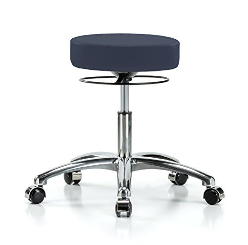 Perch Chrome Stella Rolling Height Adjustable Salon & Spa Stool for Carpet or Linoleum | Desk Height 18.5-24 Inches | 300-Pound Weight Capacity | 12 Year Warranty (Imperial Blue Vinyl)