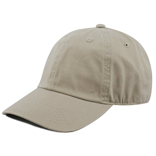 THE HAT DEPOT 300N Washed Low Profile Cotton and Denim Baseball Cap,Khaki,One Size