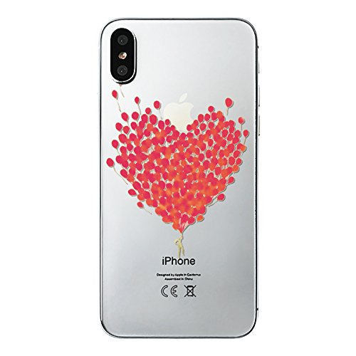 Fancy Case Compatible with iPhone X Case, Custom Style Transparent Clear TPU Protective iPhone X Case by Fancy Case (Balloon Hearts)