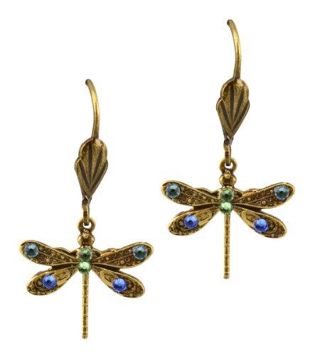 Anne Koplik Antique Gold Plated Mini Dragonfly Dangle Earrings