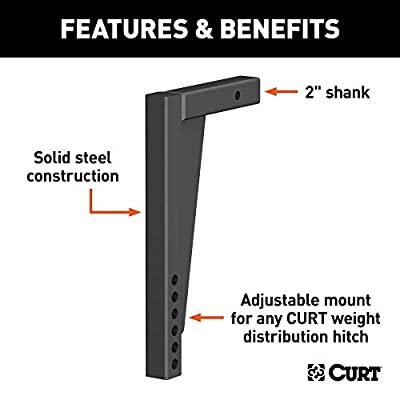 CURT 17125 Weight Distribution Hitch Replacement Shank, Fits 2-Inch Receiver, 14-1/2-Inch Drop: Automotive