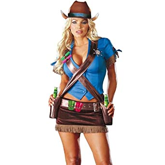 Dreamgirl Womenu0027s Cowgirl Costume Blue/Brown Medium  sc 1 st  Amazon.com & Amazon.com: Dreamgirl Womenu0027s Cowgirl Costume Blue/Brown Medium ...