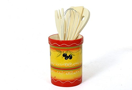 (002627 Ceramic Utensil Holder with Tuscan Olive Branch Design, Includes Wooden Utensils)