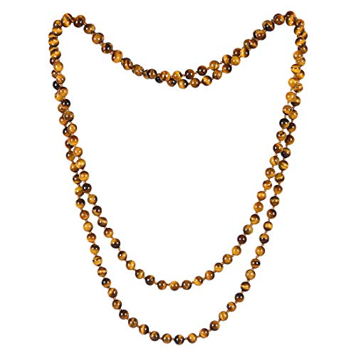 CAT EYE JEWELS Endless Infinity Necklace 8MM 59 Inch Tiger Eye Semi-Precious Stone Beaded Long Strand Necklace TE007